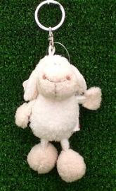 10cm White string sheep Keyring